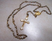 Religious Rosary and box ladies Virgin Mary Catholic Christian golden
