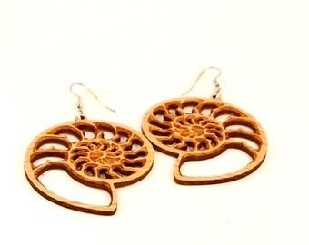 Ammonite Hook Earrings Large - Sustainable Oak or Walnut - BeardArt (Matt Beard) Nautilus Design - Natural Wood Earrings