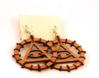 Eye of Providence Hook Earrings--Oak, Walnut and Red Stained Maple