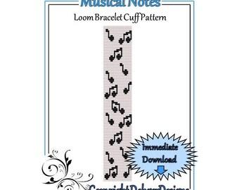 Bead Pattern Loom(Bracelet Cuff)-Musical Notes