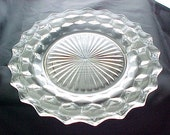 Vintage Fostoria American Dinner Plate, Crystal Clear Glass Dinnerware, Raised Cube Design Glassware, Collectible Elegant Glass