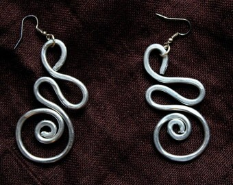 Hammered thick aluminum wire earrings; fun and lightweight