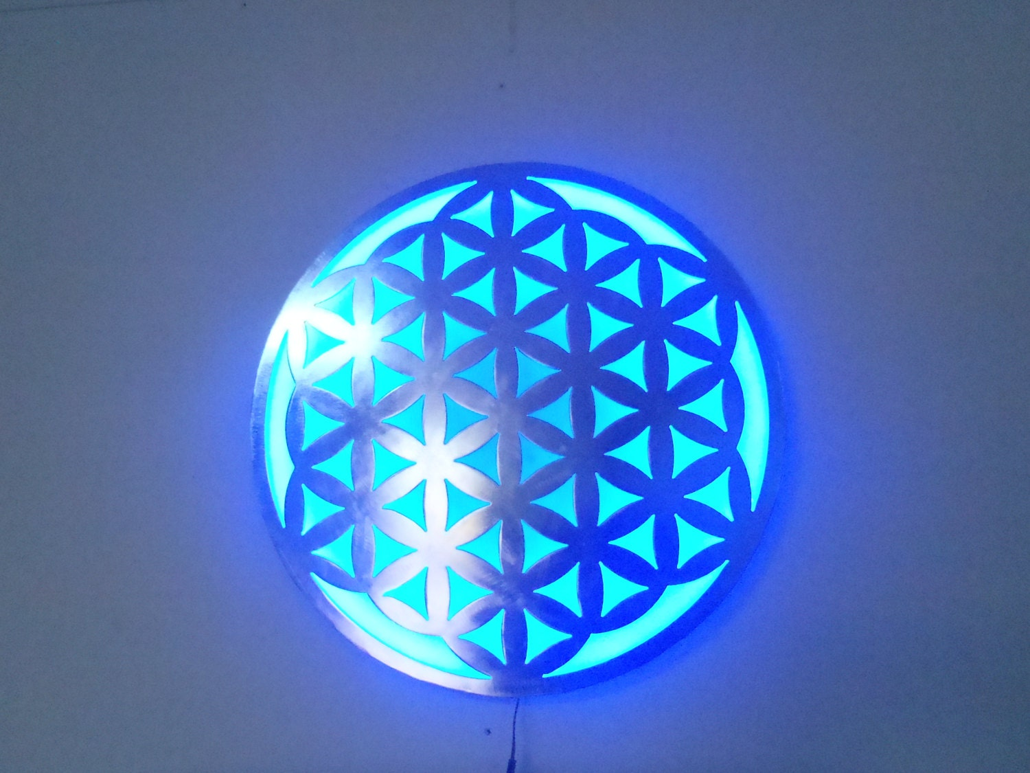 Wall Decor Lamp : Flower of life metal art wall lamp with led lights