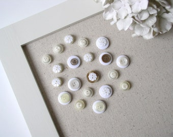 Vintage Style Button Magnets - Neutral Cream and White Colors - Set of 20  in Your Choice of Colors - For Magnetic Memo Bulletin Boards