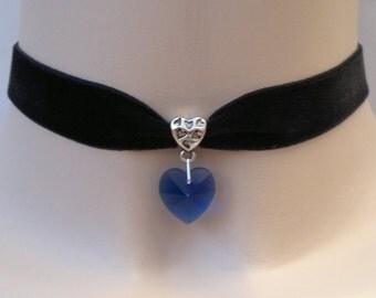 Large BLUE Glass HEART Charm Pendant  -  BLACK Velvet Ribbon Choker Necklace -s... or choose another colour velvet or heart :)