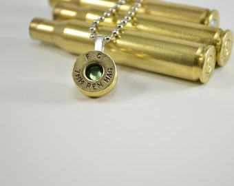 Bullet Necklace Shell Casing 7MM with Peridot Swarovski Gem Pendant Necklace