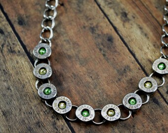 BULLET NECKLACE Tennis Bracelet Style Bullet Shell Casing Hornady 38 Special Caliber with Peridot and Jonquil Gems