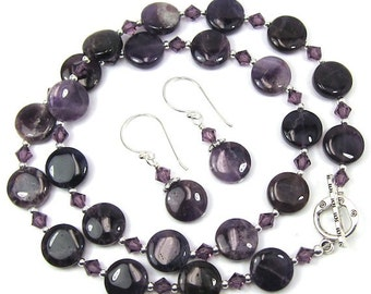 Amethyst Gemstone and Lilac Swarovski Crystal Elements Necklace Combo