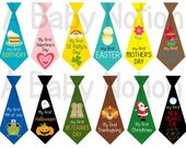 Set of 12 baby boy iron on or sticker holiday ties babys first thanksgiving christmas easter valentines halloween