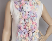Mulberry scarf  /Pompom scarf /cocoon scarf with removable  crochet brooch ,colorful