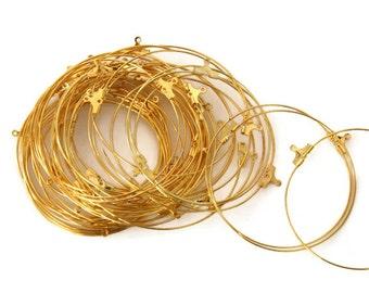 20 pcs Gold Tone Earring Hoops - 50 mm F 20 008
