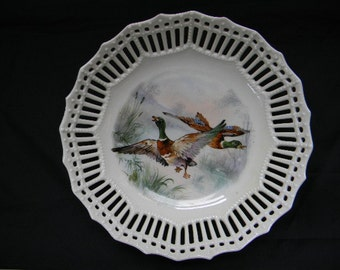 BOWL, Vintage Reticulated Germany Bowl, Ducks in Flight