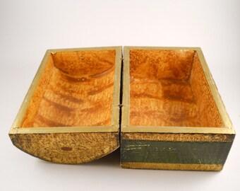 Vintage Gold Green Treasure Trinket Box keepsake