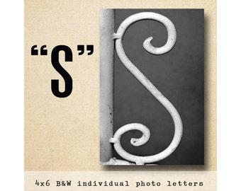 Letter S  Alphabet Photography  Black & White 4x6 Photo Letter