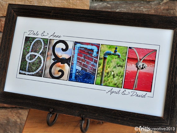 Last Name Wall Decor in  Alphabet Photography Color Photo Letters 10x20 Print Unframed