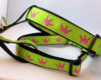 Green with Pink Crowns Step in Dog Harness