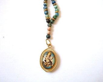 Ganesh Necklace, Blue Howlite, Rosewood Mala Beads, Yoga Necklace, Ganesh Diety