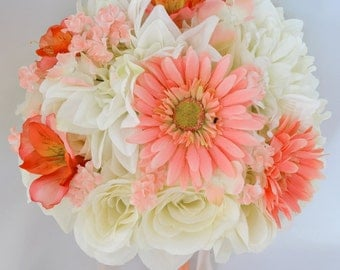 "17 Piece Package Wedding Bridal Bride Maid Of Honor Bridesmaid Bouquet Boutonniere Corsage Silk Flower CORAL ORANGE ""Lily Of Angeles"" ORIV01"