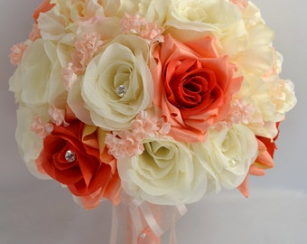 """17 Piece Package Wedding Bridal Bride Maid Of Honor Bridesmaid Bouquet Boutonniere Corsage Silk Flower CORAL PEACH Orange """"Lily Of Angeles"""""""