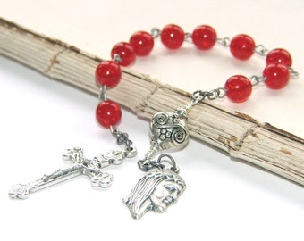 Pocket Rosary, Catholic Decima Chaplet, Crown of Thorns Medal, Red Crystal & Silver