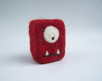 Felted soap Mini Monster red