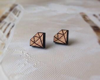 Geo Diamond - geometric stud earrings Made in Australia - Hypoallergenic Surgical stailess steel