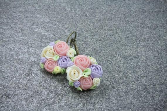 Purple, Pink, Pastel Flower Earrings, Flowers, Summer Fashion, Floral Jewelry, Flower Earrings -- Free shipping