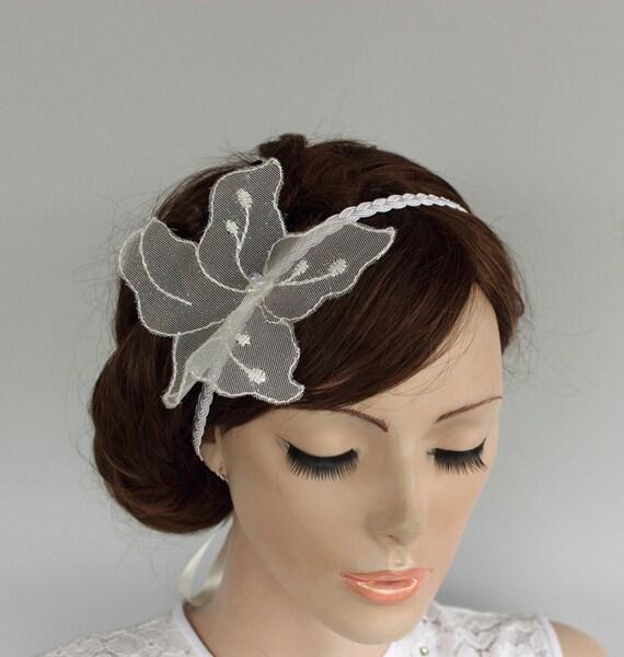 Silk Braided Bridal Headband. Off-White, Ivory Shimmery Floral Weddings Head Piece for Veil. Handmade