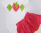 2 piece Strawberry shortcake Tween, girl, toddler, shirt, onesie strawberry and diamond applique, pink and red polka dot SKIRT sizes NB - 16