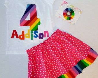3 piece Rainbow girl, toddler, baby skirt bubble gum hot pink polka dot colors, personalized shirt with name, birthday number applique, bow