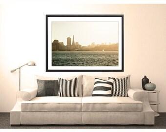 San Francisco Photography, San Francisco Skyline Sunset, wall art, San Francisco Print, travel photography, sailboat, art print
