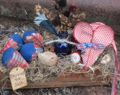 MOUSE STRAWBERRIES Lil Chicken Primitive Farm house Gathering vintage cheese box