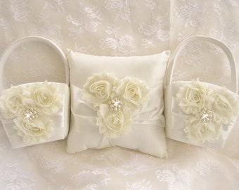 Two Flower Girl Baskets and Pillow -  Ivory Blossom  Ring Bearer Pillow, Flower Girl Basket Vintage CUSTOM COLORS