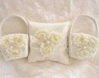 Two Flower Girl Baskets and Pillow -  Ivory or White Blossom  Ring Bearer Pillow, Flower Girl Basket Vintage CUSTOM COLORS