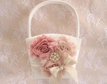 Flower Girl Basket,  Rose Blossom Shabby Chic
