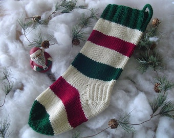B-Christmas Stocking, Christmas Present, Hand Knit Christmas Stocking,  Victorian Red, Dark Green and Off White - Handmade - Collectible