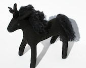 All Black Unicorn Fantasy Stuffed Animal, Handcrafted of Eco-fi Felt, Fantastical Plush Animal Toy, Kids Gift - TheRoamingPeddlers