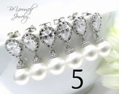 5 Bridesmaid Earrings Pearl Bridal Earrings Bridesmaid Gift Wedding Jewelry Bride Earrings Swarovski Pearls Crystal Earrings 15% Discount
