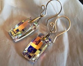 Swarovski Crystal AB Urban Earrings. Dazzling. Contemporary. Modern. Argentium Sterling handmade ear wires.