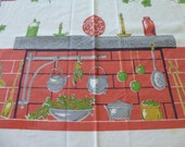 Vintage tablecloth Harvest Hearth theme Salmon Coral bricks Ivy baskets of produce Parisian Prints