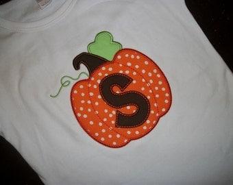 Polka Dot Pumpkin Custom boutique appliqued monogrammed personalized, boys, girls, t shirt, infant one piece shirts w/snaps, Halloween, fall