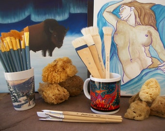 PAINT BRUSHES ~ Single or Set ~ Watercolor Oil Acrylic ~ Round Flat Fan Haiki  ~ Sea Sponge ~ Nude Painting ~ Various Choices
