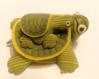 New Fimo Polymer Clay Yellow Green Turtle w/ Baby Turtle Figurine Refrigerator Magnet