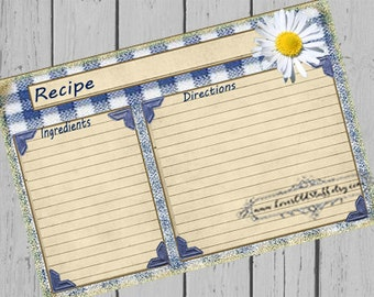 Printable Recipe Card Template 3x5 | 4x6 Recipe Cards | 3.5x5 Blank Recipe Card For Bridal Shower | Daisy & Blue Gingham