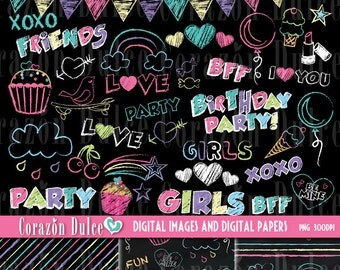 Chalkboard wall 35 Clip Art images and 3 Digital papers- INSTANT DOWNLOAD