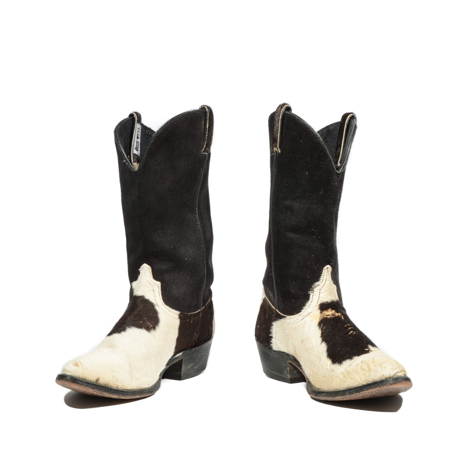 cowboy boots black white pony hair western boots black