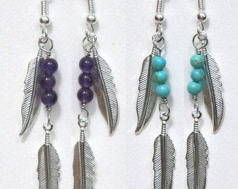 Large Silver Feather and Gemstone Earrings, agate, jasper, lapis, malachite, turquoise, pietersite, coral, goldstone, hematite, amethyst