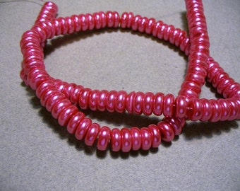 Glass Pearl Beads Pink Rondelles 8x3MM