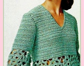 PDF Crochet Pattern For a Ladies Retro Medallion Evening Blouse