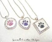 Jewels Swarovski Paw Print Crystal Rhinestone Silver Ball Chain Necklace... Help Save Sheltered Animals